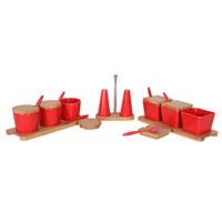Bosphorus Kahvaltılık Sosluk - Tuzluk Biberlik Komple Set Kırmızı