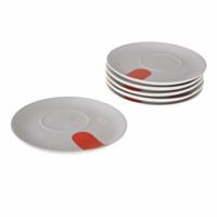 Bosphorus Porselen Sunum Tabağı 6'Lı Set Kırmızı B Model