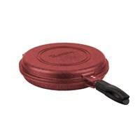 Tantitoni Granit Kırmızı Yuvarlak Çift Taraflı Çok Amaçlı Izgara Tavası