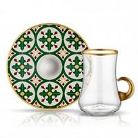 Koleksiyon Dervish Kulplu Karo Çay Seti 6Lı Yeşil