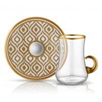 Koleksiyon Dervish Kulplu Ikat Çay Seti 6Lı Altın