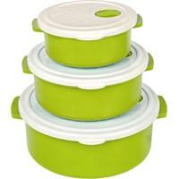 Bager 3'Lü Plastik (Tencere) Saklama Kabı Seti - Yeşil
