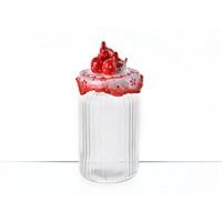 Lucky Art Horozlu Kırmızı Büyük Cam Kavanoz - Lymy 011