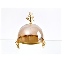 Lucky Art Gold Amber Yapraklı Kek Fanusu - Cd 013