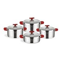 Sofram Tetra Çelik Tencere Set 8 Parça-Kırmızı Kulplu