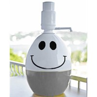 Dami Pompa Basmalı Damacana Kılıfı Alt Gri Smiley + Özel Beyaz Pompa