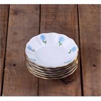 Porland Porselen Çay Tabağı 6 Lı Mavi Papatya Mğz