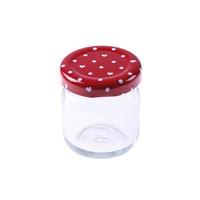 KullanAtMarket Kırmızı Puantiyeli Mini Cam Kavanoz 5 Adet