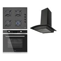 Simfer Gourmet Plus 3'lü Ankastre Set (3500 Gaz Emniyetli Cam Ocak + 7047 Multifonksiyon Digital Fırın + 8604 Siyah Davlumbaz)