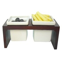 Bosphorus Porselen Kahvaltılık/Çerezlik/Meyvelik Ahşap 2 Lü Set
