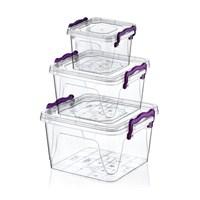 Hobby Life Plastik 3 Lü Kare Multi Set (0,55+1,2+2,4Lt) Saklama Kabı