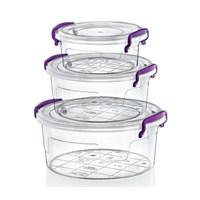 Hobby Life Plastik 3 Lü Yuvarlak Multi Set (0,6+1,2+2,1Lt) Saklama Kabı