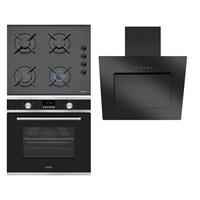 Simfer Gourmet Lux 3'lü Ankastre Set (7017 Multifonksiyon Fırın + 3500 Gaz Emniyetli Cam Ankastre Ocak + 8624 Siyah Cam Davlumbaz)
