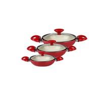 Taç Kırmızı Beyaz Seramik 3'Lü Omlet Seti