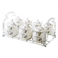 Güral Porselen 21 Parça Standlı Porselen Baharat Takımı Dekor 52835