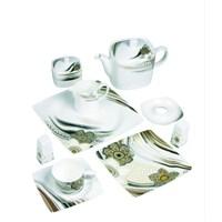 Güral Porselen 49 Parça Kare Bone Kahvaltı Takımı Dekor 3602