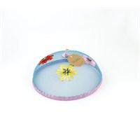 Kancaev Sineklik-Mavi Tel Pembe Bordürlü Çiçekli Küçük