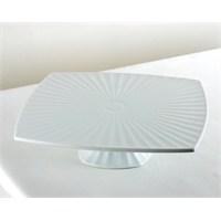 Kancaev Porselen Ayaklı Kare Pasta Servis Tabağı