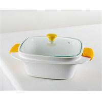 Kancaev Porselen Kare Sarı Saplı Fırın Kabı
