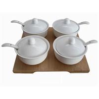 Gönül Kaşıklı,Beyaz Porselen,Bamboo tepsili 4'lÜ Baharatlık