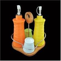 Gönül Porselen Ahşap Tepsili 4 Lü Renkli Porselen Yağlık Sirkelik Tuzluk Seti