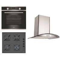 Simfer New Gourmet Noble 3'lü Ankastre Set (7017 Multifonksiyon Digital Fırın +3500 Gaz Emniyetli Cam Ocak + 8630 Cam Davlumbaz)