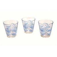 Paşabahçe Cıty Desenli Su Bardağı 3'Lü Mavi