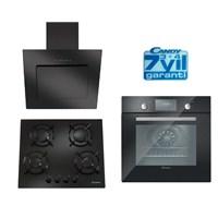 Candy Blacktime Plus 3'lü Ankastre Set (FPP/FPE 609 NXL Ankastre Fırın + PV 640 SN/1 Siyah Ankastre Ocak+CDM 61 NTK Uzaktan Kumandalı 60 cm Cam Davlumbaz)