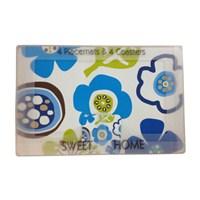 Mavi Çiçekli 4 Bardak Altlıklı Amerikan Servis
