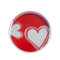 Kırmızı Kalpli Yuvarlak Tepsi