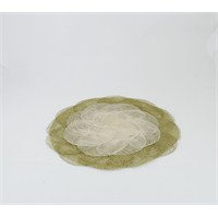 Yuvarlak Amerikan Servis, Yeşil/Natürel, 2'Li Set