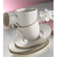 Kütahya Porselen Açelya Krem 6 Kişilik Çay Fincan Takımı