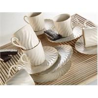Kütahya Porselen Lilyum Krem 6 Kişilik Kahve Fincan Takımı
