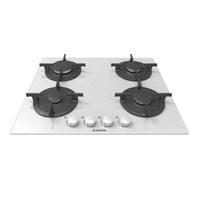 Hoover HGV 64 SCW 4 Gözü Gazlı Döküm Izgaralı Beyaz Cam Ankastre Ocak
