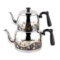 Özkent K-371 Menekşe Desenli Mini Çaydanlık Siyah
