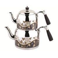 Özkent K-386 Armine Desenli Mini Çaydanlık Siyah
