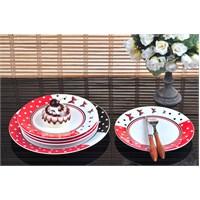 Keramika Takım Pasta Ege 7 Parça Beyaz004-Kırmızı 506 Kelebek A