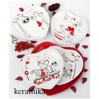 Keramika Takım Pasta Kalp 7 Parça Beyaz004-Kırmızı 506 Perı Masalı A