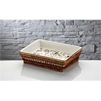 iHouse Rx10 Porselen Hasırlı Fırın Kabı Beyaz
