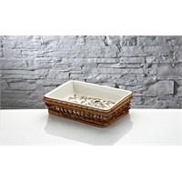 iHouse Rx11 Porselen Hasırlı Fırın Kabı Beyaz