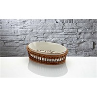 iHouse Rx12 Porselen Hasırlı Fırın Kabı Beyaz