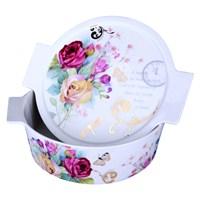 iHouse 33206-Kapaklı Porselen Fırın Kabı 28X24x8cm-Beyaz
