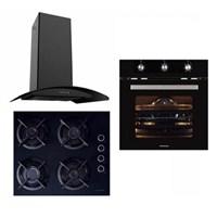 Termikel Eco Black 3'Lü Ankastre Set ( BO 5200 BL Ankastre Fırın + 17152 B604L Emaye Izgaralı Ankastre Ocak + Caspia 3108 60 Cm Davlumbaz)