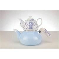 Verda Emaye+Porselen Çaydanlık Takımı (3 Parça) Mavi
