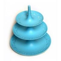 Atadan 3 Katlı Dantel Desenli Küçük Kurabiyelik-Mavi
