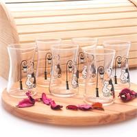 Joy Glass 6 Lı Heybeli Çay Bardağı Kedi Desen