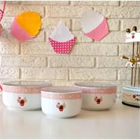 Keramika Set Saklama Kabı Kera 3 Parça Beyaz 004 Pink Cake