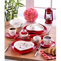 Keramika Set Kalp Kahvaltı 14 Parça Keyfı Aşk Serısı