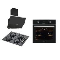 Eminçelik Black Pradise 3'lü Ankastre Set (21220 Multifonksiyon Ankastre Fırın + 12225 Siyah Cam Ocak + 14540 Slim Siyah Cam Oval Davlumbaz )