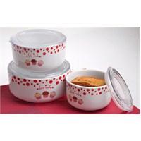 Keramika Set Saklama Kabı Kera 3 Parça Beyaz 004 Fruit Cake